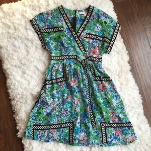 Tracy Reese Floral Faux Wrap Dress Short Sleeve